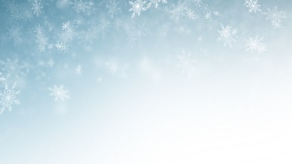 White Snow flake on Blue Background in Christmas holiday