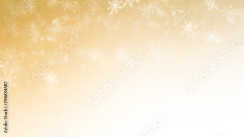 White Snow flake on Gold Background in Christmas holiday