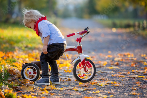 Beautiful blonde two years old toddler boy, riding red tricycle in the park on sunset