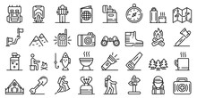 Hiking Icons Set. Outline Set ...