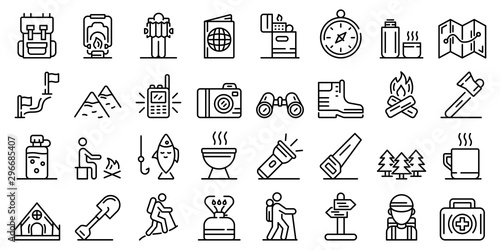 Fototapeta Hiking icons set. Outline set of hiking vector icons for web design isolated on white background obraz