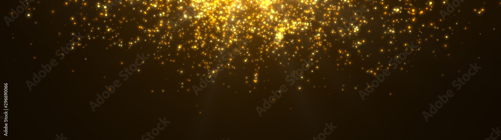 Fototapety, obrazy: New year 2020. Bokeh background. Lights abstract. Merry Christmas backdrop. Gold glitter light. Defocused particles. Isolated on black. Overlay. Golden color. Panoramic view
