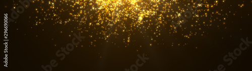 New year 2020. Bokeh background. Lights abstract. Merry Christmas backdrop. Gold glitter light. Defocused particles. Isolated on black. Overlay. Golden color. Panoramic view