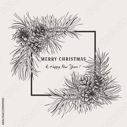 Christmas holiday frame with pine branches and cones Tapéta, Fotótapéta