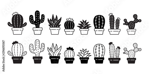 Fotomural cactus vector icon Desert flower logo botanica character cartoon plant garden sy