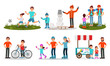 Parents and Children Characters Spending Time Together Outdoor Vector Illustrated Set.