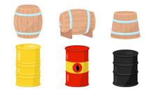 Wooden And Metal Barrels Vecto...