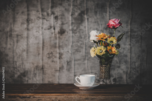 Canvas Prints Floral Still life with flower vases and coffee cups
