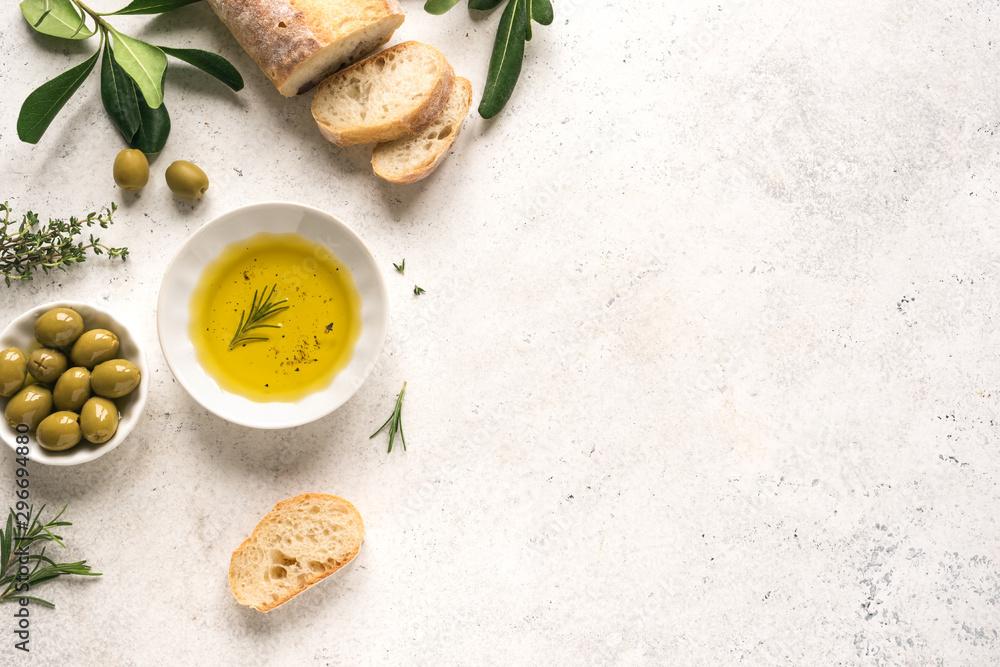 Fotografia Olive Oil and bread