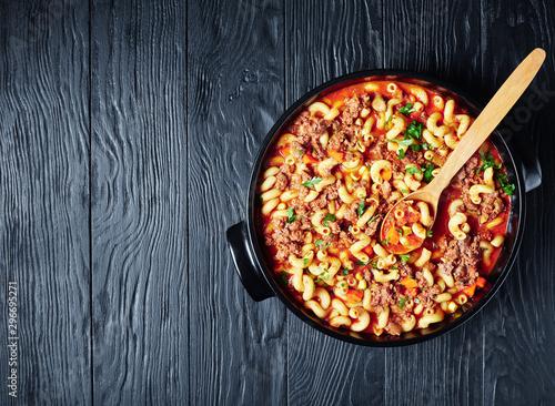 close-up of american italian goulash in a dish Fotobehang