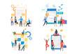 Ecommerce illustration set. People shaking hands, buying online, sticking notes on board, completing survey. Business concept. Vector illustration for landing pages, presentation slide templates