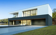 Leinwanddruck Bild - Perspective of luxury modern house with swimming pool in day time on forest lake background, Idea of minimal architecture design. 3D rendering