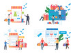 Online shopping illustration set. Customers buying gifts, using digital devices and credit cards. Commerce concept. Vector illustration for landing pages, presentation slide templates
