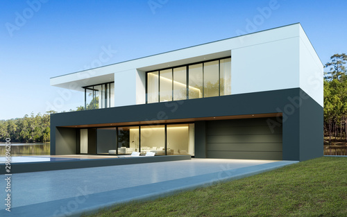 Leinwand Poster  Perspective of luxury modern house with swimming pool in day time on forest lake background, Idea of minimal architecture design