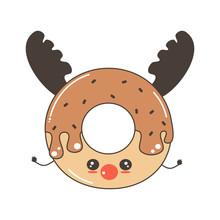 Cute Cartoon Character Reindeer Donut Funny Holidays Vector Illustration