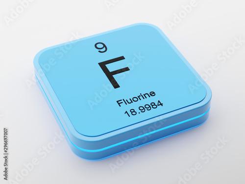 Fluorine periodic table element symbol on blue modern futuristic icon design 3D render