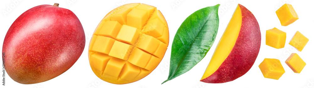 Fototapeta Set of mango fruits and mango slices. Isolated on a white background. Clipping path.