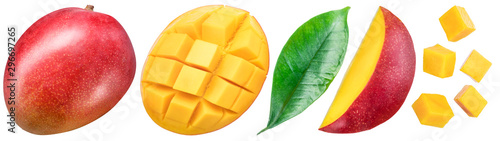 Photo Set of mango fruits and mango slices