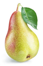 Ripe Pear With A Leaf On White Background. Clipping Path.