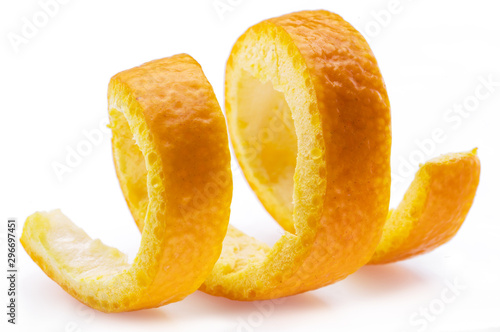 Fotomural Orange peel or orange twist on white background. Close-up.