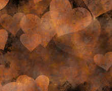 Rusty Metal Painted Hearts Bac...