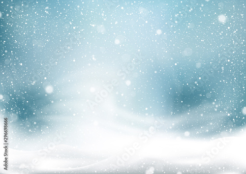 Pinturas sobre lienzo  Winter Snow Storm Background - Abstract Illustration with Winter Landscape with
