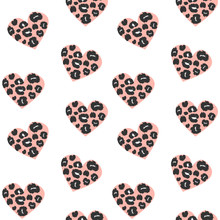 Cute Lovely Seamless Vector Pattern Background Illustration With Hearts With Animal Print With Leopard Dots