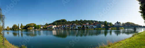 Obraz view of Adour river and Peyrehorade city, France - fototapety do salonu
