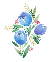 Watercolor Abstract Blue Flowe...