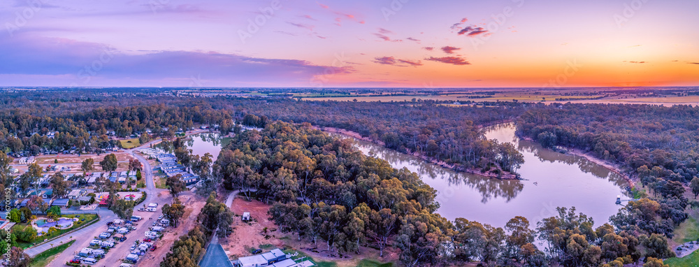Fototapety, obrazy: Aerial panorama of Murray River and holiday park at sunset. Moama, New South Wales, Australia