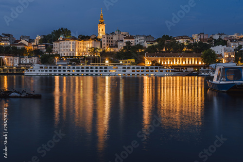 Belgrade Lights Night View from Riverbank