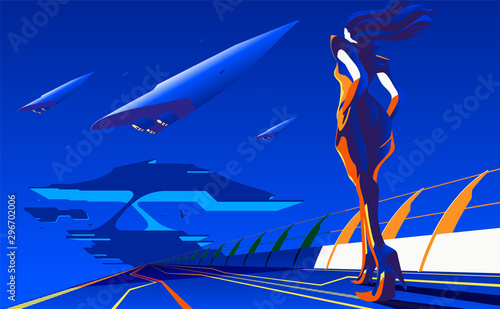 Foto auf Leinwand Dunkelblau An imagery illustration of a woman walking to the station or base for interstellar transportation in vector art.