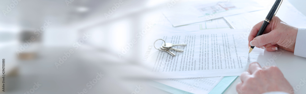 Fototapeta Client signing a real estate contract; panoramic banner