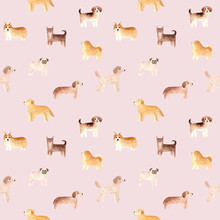 Seamless Pattern. Hand Drawn Watercolor Dogs. Painted Collection Illustration