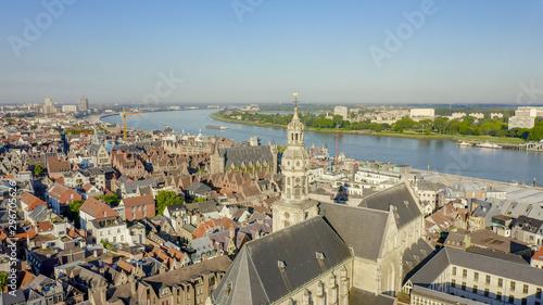 Autocollant pour porte Antwerp Antwerp, Belgium. St. Paul s Cathedral (Sint-Pauluskerk), Aerial View