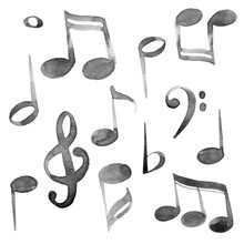 Set Of Watercolor Music Notes And Keys Set In Black Ink