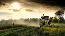 Farmer Silhouette With Combine...