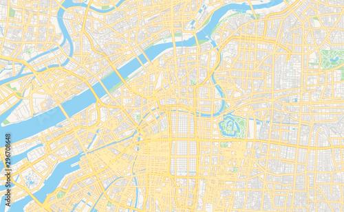 Photo Printable street map of Osaka, Japan