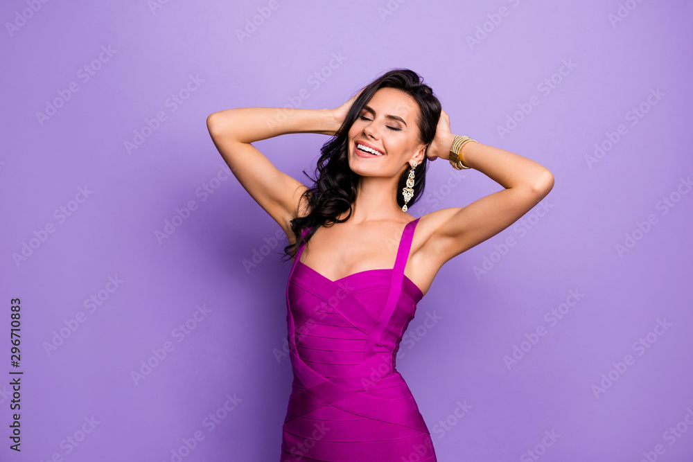 Fototapety, obrazy: Portrait of her she nice-looking attractive lovely stunning charming dreamy cheerful cheery wavy-haired lady touching hair enjoying evening isolated over violet purple lilac pastel color background