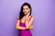 canvas print picture - Close-up portrait of her she nice-looking attractive glamorous stunning charming cheerful foxy curious sly cunning wavy-haired lady biting nail isolated over violet purple lilac pastel background