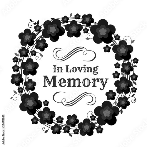 In loving memory text in circle Vine wreath and black flowers frame vector deisgn Wall mural