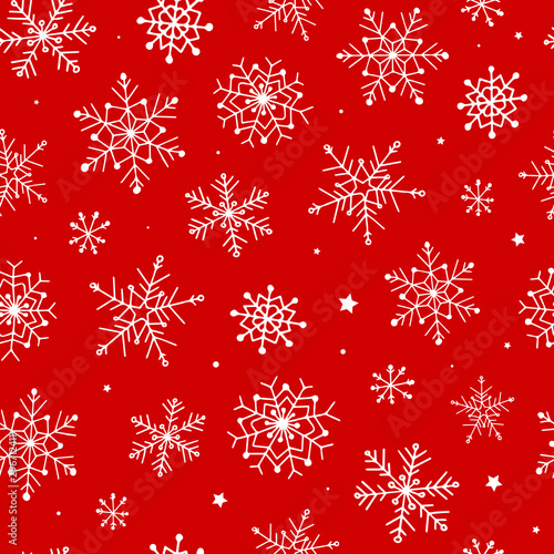 festive christmas seamless pattern with hand drawn snowflakes on red background Wallpaper Mural