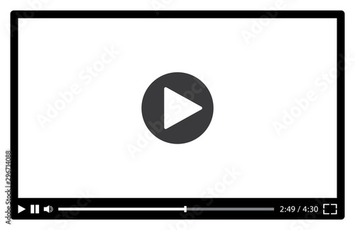 Fotografía  Video player for web in black and white. Vector illustration
