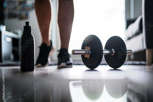Fitness, home workout and weight training concept Fototapete