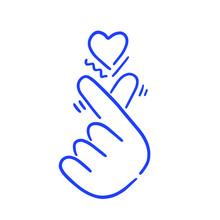 Hand Heart K-pop Vector Icon O...