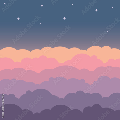 Cloud sky beautiful cartoon background. Night sky with colorful clouds flat poster or flyer, cloudscape panorama  - 296714812