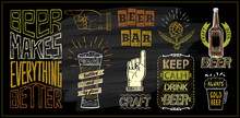 Chalk Beer Menu Board Designs Set - Beer Bar, Keep Calm Drink Beer