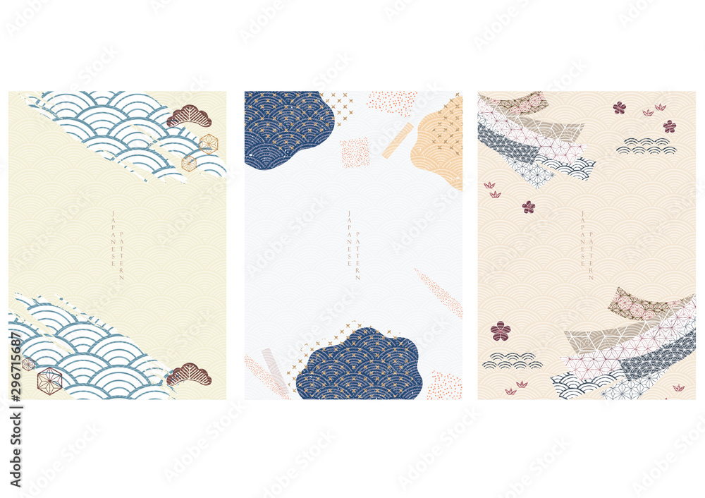 Fototapeta Japanese template with wave pattern vector. Ribbon,  tree and icons decorations. Brush stoke elements.