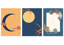 Japanese Template With Traditional Elements Vector. Moon Background With Lion, Bamboo And Cloud Icons.