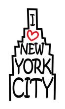 I Love New York City Design In Skyscraper, Comic Style